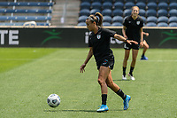 BRIDGEVIEW, IL - JUNE 5: Mallory Pugh #9 of the Chicago Red Stars warms up before a game between North Carolina Courage and Chicago Red Stars at SeatGeek Stadium on June 5, 2021 in Bridgeview, Illinois.