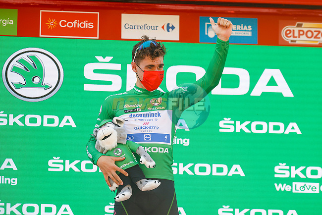 Fabio Jakobsen (NED) Deceuninck Quick-Step retains the points Green Jersey at the end of Stage 12 of La Vuelta d'Espana 2021, running 175km from Jaén to Córdoba, Spain. 26th August 2021.     <br /> Picture: Luis Angel Gomez/Photogomezsport | Cyclefile<br /> <br /> All photos usage must carry mandatory copyright credit (© Cyclefile | Luis Angel Gomez/Photogomezsport)