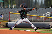 Zech Lemond #41 of the Eugene Emeralds pitches against the Salem-Keizer Volcanoes at Volcanoes Stadium on July 27, 2014 in Keizer, Oregon. Salem-Keizer defeated Eugene, 9-1. (Larry Goren/Four Seam Images)