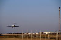 Aeroplane landing at Paris-Orly Airport, Paris, France.