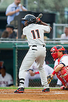 Roderick Bernadina (11) of the Delmarva Shorebirds at bat against the Hagerstown Suns at Municipal Stadium on April 11, 2013 in Hagerstown, Maryland.  The Shorebirds defeated the Suns 7-4 in 10 innings.  (Brian Westerholt/Four Seam Images)