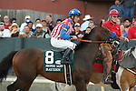 April 12, 2014: #8 Bayern with jockey Gary Stevens aboard during post parade before the running of the Arkansas Derby at Oaklawn Park in Hot Springs, AR. Justin Manning/ESW/CSM