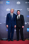 Boris Becker and Robbie Fowler walk the Red Carpet event at the World Celebrity Pro-Am 2016 Mission Hills China Golf Tournament on 20 October 2016, in Haikou, China. Photo by Marcio Machado / Power Sport Images