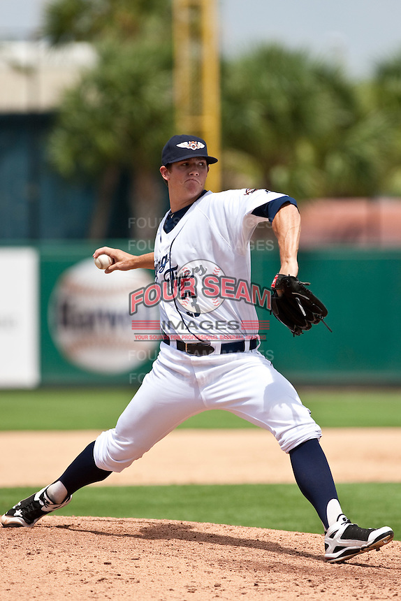 Robert Waite (3) of the Lakeland Flying Tigers during a game vs. the Ft. Myers Miracle June 6 2010 at Joker Marchant Stadium in Lakeland, Florida. Ft. Myers won the game against Lakeland by the score of 2-0.  Photo By Scott Jontes/Four Seam Images