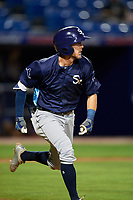 Charlotte Stone Crabs right fielder Miles Mastrobuoni (5) runs to first base during the second game of a doubleheader against the St. Lucie Mets on April 24, 2018 at First Data Field in Port St. Lucie, Florida.  St. Lucie defeated Charlotte 5-3.  (Mike Janes/Four Seam Images)