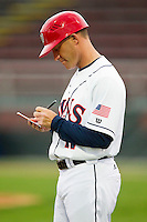 Hagerstown Suns manager Tripp Keister (17) updates his lineup card as the Delmarva Shorebirds make an injury substitution at Municipal Stadium on April 11, 2013 in Hagerstown, Maryland.  The Shorebirds defeated the Suns 7-4.  (Brian Westerholt/Four Seam Images)