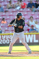Jose Ruiz #26 of the Eugene Emeralds bats against the Salem-Keizer Volcanoes at Volcanoes Stadium on July 27, 2014 in Keizer, Oregon. Salem-Keizer defeated Eugene, 9-1. (Larry Goren/Four Seam Images)