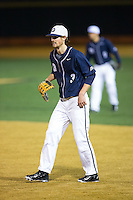 Georgetown Hoyas first baseman Joseph Bialkowski (3) on defense against the Wake Forest Demon Deacons at David F. Couch Ballpark on February 19, 2016 in Winston-Salem, North Carolina.  The Demon Deacons defeated the Hoyas 3-1.  (Brian Westerholt/Four Seam Images)