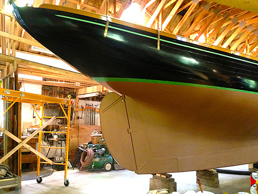 Secret of speed? As Ron Hawkins' restoration of Mavis nears completion, it's clear that her stern - while apparently of canoe form - is in fact a skilfully-disguised and very swift classic counter. Photo: Denise Pukas