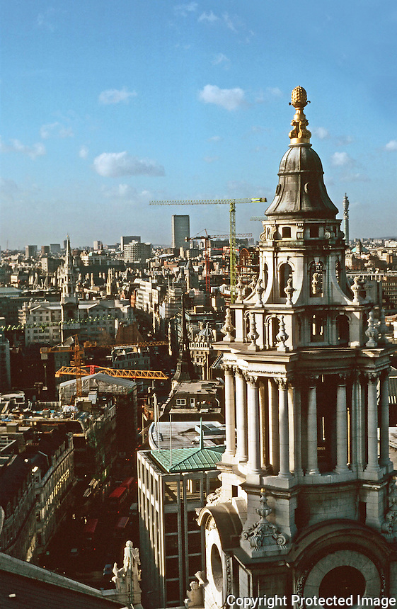 London:  9.  Panoramic view from St. Paul's.  Due West, down Ludgate Hill.  Photo '90.