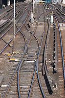 Rail tracks forming a pattern at Slussen. The Stockholm subway. Stockholm. Sweden, Europe.