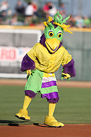 Mascot BirdZerk! dances in the field during a game between the Beloit Snappers and Great Lakes Loons at Dow Stadium on July 22, 2011 in Midland, Michigan.  Great Lakes defeated Beloit 5-2.  (Mike Janes/Four Seam Images)