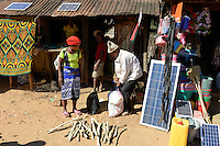 MADAGASCAR, Vohilava, shop with solar panel / MADAGASKAR Mananjary, Vohilava, Marktplatz, shop mit Solar Panel