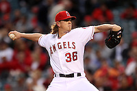 Jared Weaver #36 of the  Los Angeles Angels pitches a no hitter against the Minnesota Twins at Angel Stadium on May 2, 2012 in Anaheim,California. Los Angeles defeated Minnesota 9-0.(Larry Goren/Four Seam Images)