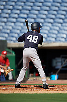 New York Yankees Evan Alexander (48) at bat during a Florida Instructional League game against the Philadelphia Phillies on October 12, 2018 at Spectrum Field in Clearwater, Florida.  (Mike Janes/Four Seam Images)