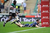 Scott Riddell of Scotland scores a try during the iRB Marriott London Sevens at Twickenham on Saturday 11th May 2013 (Photo by Rob Munro)