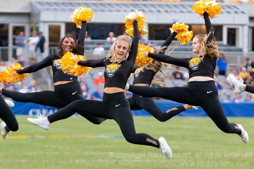 The University of Pittsburgh dance team performs during a break. The Pitt Panthers defeated the UMass Minutemen 51-7 on September 4, 2021 at Heinz Field, Pittsburgh, PA.