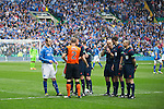 St Johnstone v Dundee United....17.05.14   William Hill Scottish Cup Final<br /> Ref Craig Thomson tosses the coin with captains Dave Mackay and Sean Dillon<br /> Picture by Graeme Hart.<br /> Copyright Perthshire Picture Agency<br /> Tel: 01738 623350  Mobile: 07990 594431