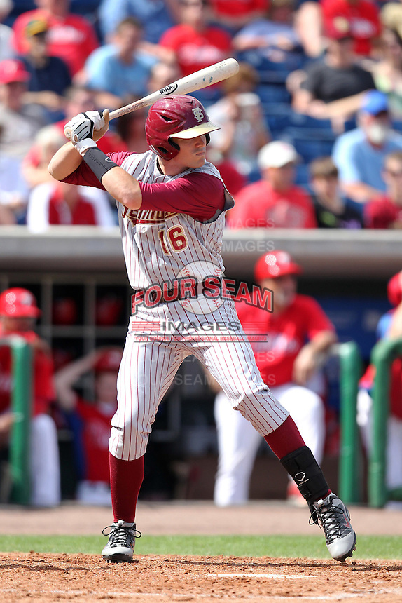 Florida State Seminoles first baseman Jayce Boyd #16 during a scrimmage against the Philadelphia Phillies at Brighthouse Field on February 29, 2012 in Clearwater, Florida.  Philadelphia defeated Florida State 6-1.  (Mike Janes/Four Seam Images)