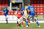 St Johnstone v Fleetwood Town…24.07.21  McDiarmid Park<br />Jordan Rossiter under pressure from Cammy Ballantyne<br />Picture by Graeme Hart.<br />Copyright Perthshire Picture Agency<br />Tel: 01738 623350  Mobile: 07990 594431