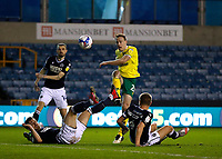 2nd February 2021; The Den, Bermondsey, London, England; English Championship Football, Millwall Football Club versus Norwich City; Oliver Skipp of Norwich City takes a shot on goal
