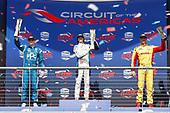Josef Newgarden, Team Penske Chevrolet, Colton Herta, Harding Steinbrenner Racing Honda, Ryan Hunter-Reay, Andretti Autosport Honda, podium