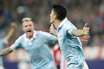 Celta de Vigo's Pablo Hernandez (r) and John Guidetti celebrate goal during Spanish Kings Cup match. January 27,2016. (ALTERPHOTOS/Acero)