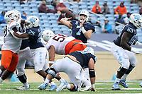 CHAPEL HILL, NC - OCTOBER 10: Sam Howell #7 of North Carolina throws a 37-yard touchdown pass during a game between Virginia Tech and North Carolina at Kenan Memorial Stadium on October 10, 2020 in Chapel Hill, North Carolina.