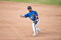 Missoula Osprey second baseman Eddie Hernandez (10) throws to first base during a Pioneer League game against the Orem Owlz at Ogren Park Allegiance Field on August 19, 2018 in Missoula, Montana. The Missoula Osprey defeated the Orem Owlz by a score of 8-0. (Zachary Lucy/Four Seam Images)