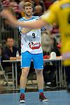 GER - Mannheim, Germany, September 23: During the DKB Handball Bundesliga match between Rhein-Neckar Loewen (yellow) and TVB 1898 Stuttgart (white) on September 23, 2015 at SAP Arena in Mannheim, Germany. (Photo by Dirk Markgraf / www.265-images.com) *** Local caption *** Lars Friedrich #9 of TVB 1898 Stuttgart