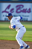 Willie Calhoun (17) of the Ogden Raptors on defense against the Orem Owlz in Pioneer League action at Lindquist Field on June 18, 2015 in Ogden, Utah.  This was Opening Night play of the 2015 Pioneer League season. (Stephen Smith/Four Seam Images)