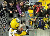 Captain Hurricane mingles with fans during the Super Rugby match between the Hurricanes and Southern Kings at Westpac Stadium, Wellington, New Zealand on Friday, 25 March 2016. Photo: Dave Lintott / lintottphoto.co.nz
