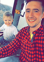 Pictured: Guto Sior Jenkins (R) with his three year old son Ianto Jenkins. <br /> Re: Three year old Ianto Jenkins has died after an incident at a farm near Efailwen, west Wales, UK.<br /> Emergency services were called to the property in Carmarthenshire at about 7pm on Tuesday (03 August 2021) after reports a child had been hit by a farm vehicle.<br /> Dyfed-Powys Police confirmed the boy had died at the scene and an investigation had been launched into how it happened.