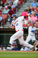 Buffalo Bisons third baseman Matt Hague (49) at bat during a game against the Pawtucket Red Sox on August 23, 2014 at Coca-Cola Field in Buffalo, New  York.  Buffalo defeated Pawtucket 15-2.  (Mike Janes/Four Seam Images)