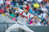 Carolina Mudcats starting pitcher Ryan Merritt (32) in action against the Winston-Salem Dash at BB&T Ballpark on June 6, 2014 in Winston-Salem, North Carolina.  The Mudcats defeated the Dash 3-1.  (Brian Westerholt/Four Seam Images)