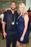 Rio Ferdinand and Jodie Kidd<br /> on the trading floor for the BGC Charity Day 2016, Canary Wharf, London.<br /> <br /> <br /> ©Ash Knotek  D3152  12/09/2016