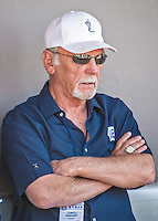 16 March 2014: Former Detroit Tigers Manager Jim Leyland watches batting practice from the dugout prior to a Spring Training Game against the Washington Nationals at Space Coast Stadium in Viera, Florida. The Tigers edged out the Nationals 2-1 in Grapefruit League play. Mandatory Credit: Ed Wolfstein Photo *** RAW (NEF) Image File Available ***