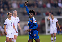 HOUSTON, TX - JANUARY 28: Soveline Beaubrun #2 of Haiti calls for the ball during a game between Haiti and USWNT at BBVA Stadium on January 28, 2020 in Houston, Texas.
