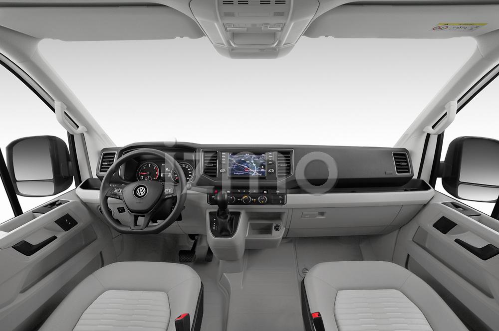 Stock photo of straight dashboard view of 2020 Volkswagen Grand-California 600 4 Door Refrigerated Van Dashboard