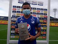 BOGOTA - COLOMBIA, 13-06-2021: Stiven Vega de Millonarios F. C. es el jugador del partido entre Millonarios F. C. y Atletico Junior de vuelta de las Semifinales por la Liga BetPlay DIMAYOR I 2021 jugado en el estadio Nemesio Camacho El Campin de la ciudad de Bogota. / Stiven Vega of Millonarios F. C. is the player of the match between Millonarios F. C. and Atletico Junior of the second leg of the Semifinals for the BetPlay DIMAYOR I 2021 League played at the Nemesio Camacho El Campin Stadium in Bogota city. / Photo: / VizzorImage / Daniel Garzon / Cont.