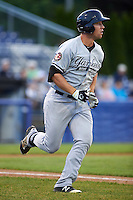 Staten Island Yankees third baseman Drew Bridges (18) runs to first during a game against the Batavia Muckdogs on August 27, 2016 at Dwyer Stadium in Batavia, New York.  Staten Island defeated Batavia 13-10 in eleven innings.  (Mike Janes/Four Seam Images)