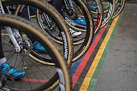 Men's Race rainbow start line<br /> <br /> UCI 2017 Cyclocross World Championships<br /> <br /> january 2017, Bieles/Luxemburg