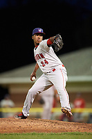 Auburn Doubledays relief pitcher Diomedes Eusebio (24) during a game against the Batavia Muckdogs on June 19, 2017 at Dwyer Stadium in Batavia, New York.  Batavia defeated Auburn 8-2 in both teams opening game of the season.  (Mike Janes/Four Seam Images)