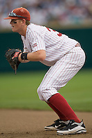 Oklahoma's Cameron Seitzer in Game 3 of the NCAA Division One Men's College World Series on Sunday June 20th, 2010 at Johnny Rosenblatt Stadium in Omaha, Nebraska.  (Photo by Andrew Woolley / Four Seam Images)