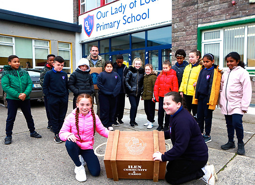 One of the new cargo boxes is welcomed to Our Lady of Lourdes Primary School in Limerick