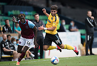 Eren Kinali, Southend United, goes over easily under the challenge from Emmanuel Longelo, West Ham U21's during Southend United vs West Ham United Under-21, EFL Trophy Football at Roots Hall on 8th September 2020