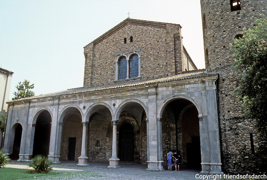 Italy: Ravenna--Basilica St. Appolinare Nuovo. 6th C. church, begun during time of Theodoric; Campanile, supposedly, 10th C.; Porch, 16th C. but restored after direct hit, 1916. Photo '83.