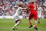 Real Madrid´s Michel Salgado and Liverpool´s Jones during 2015 Corazon Classic Match between Real Madrid Leyendas and Liverpool Legends at Santiago Bernabeu stadium in Madrid, Spain. June 14, 2015. (ALTERPHOTOS/Victor Blanco)