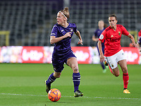 Laura Deloose (14 Anderlecht) with the ball during a female soccer game between RSC Anderlecht Dames and Portugese Benfica Ladies  in the second qualifying round for the Uefa Womens Champions League of the 2020 - 2021 season , Wednesday 18 th of November 2020  in ANDERLECHT , Belgium . PHOTO SPORTPIX.BE | SPP | SEVIL OKTEM