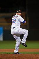 Scottsdale Scorpions relief pitcher Kyle Regnault (28), of the New York Mets organization, delivers a pitch to the plate during an Arizona Fall League game against the Peoria Javelinas on October 20, 2017 at Scottsdale Stadium in Scottsdale, Arizona. the Javelinas defeated the Scorpions 2-0. (Zachary Lucy/Four Seam Images)